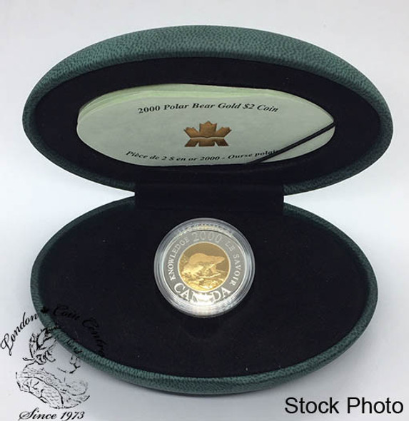 Canada: 2000 $2 Millennium Path of Knowledge 22k Gold Coin in Clamshell Case