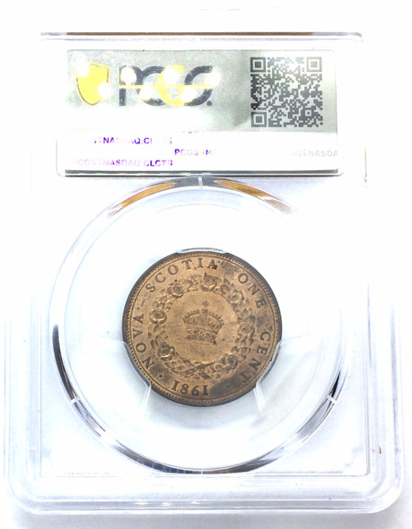 Canada: Nova Scotia 1861 One Cent Pattern PCGS SP64+RB