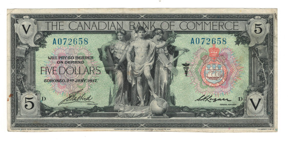 Canada: 1917 $5 Banknote - The Canadian Bank of Commerce A072658