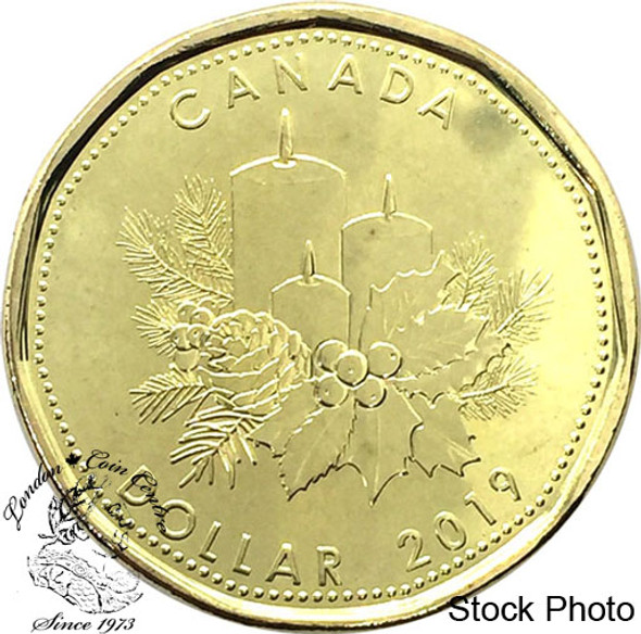 Canada: 2019 $1 Christmas Holiday Loonie with candles
