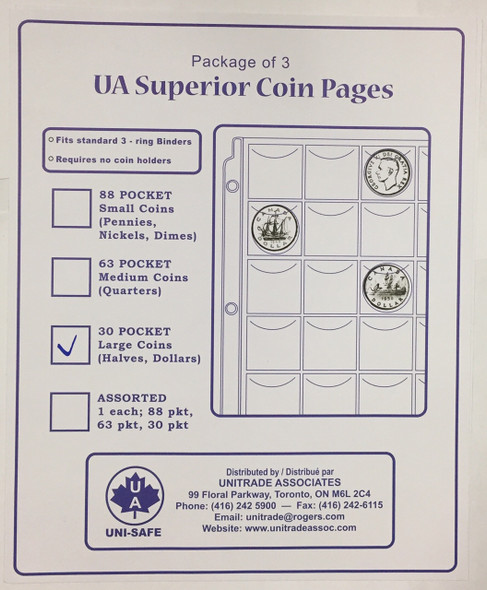 UA Superior Coin Pages - 30 Pocket Large Coins (Halves, Dollars) (Package of 3)