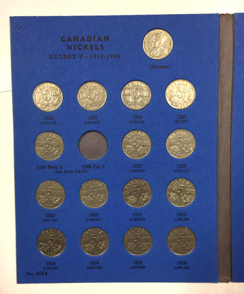 Canada: 1922-1960 Collection of Nickels in Whitman Folder  (45 Pieces) Includes 1925, 1926 Near