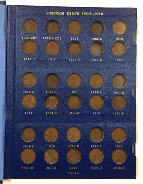 United States: 1909 - 1940 Lincoln Head Cent Collection - Whitman Folder (77 Pieces)