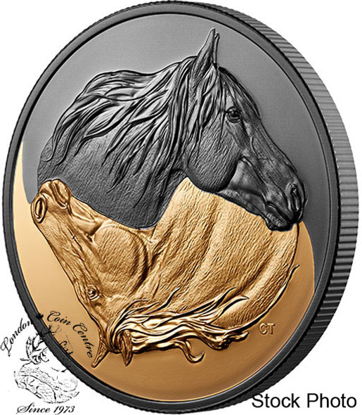 Canada: 2020 $20 Black and Gold: The Canadian Horse 1 oz. Pure Silver Gold-Plated Coin