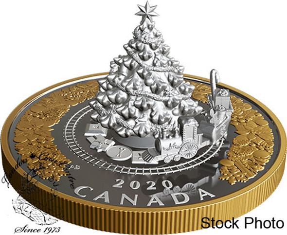 Canada: 2020 $50 Christmas Train 5 oz. Pure Silver Coin