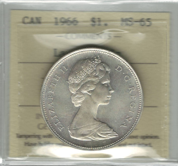 Canada: 1966 Silver Dollar Large Beads ICCS MS65 Lot#2
