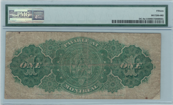 Canada: 1878 $1 Banknote - Dominion of Canada PMG F15
