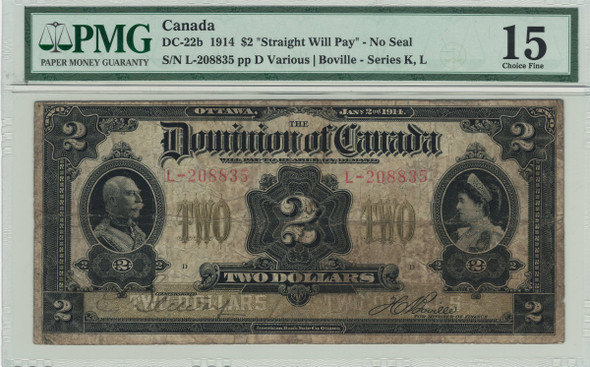 Canada: 1914 $2 Banknote - Dominion of Canada No Seal PMG F15