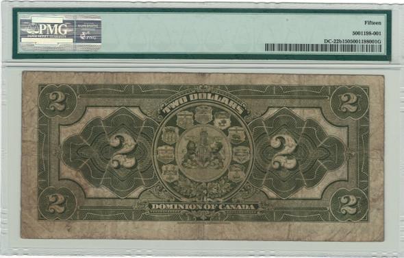 Canada: 1914 $2 Banknote - Dominion of Canada No Seal PMG F15