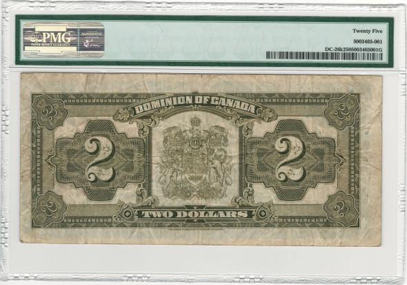 Canada: 1923 $2 Banknote - Dominion of Canada Black Seal PMG VF25