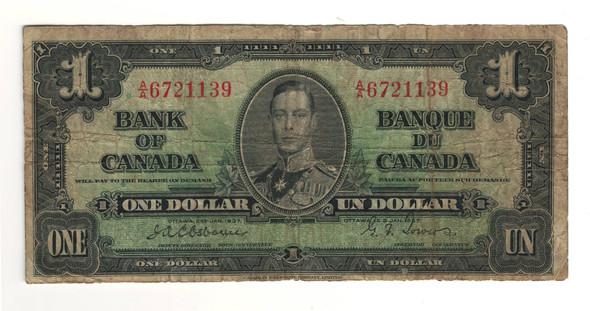 Canada: 1937 $1 Bank Of Canada Banknote BC-21a Lot#9