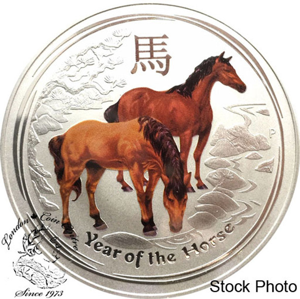 Australia: 2014 $1 Year of the Horse Coloured 1 oz. Pure Silver Coin