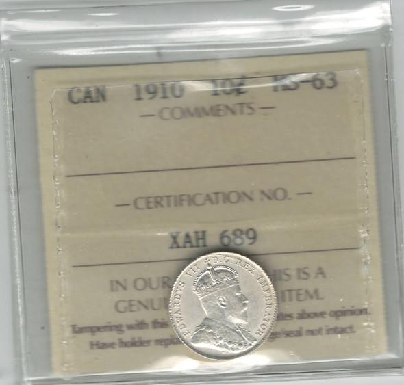 Canada: 1910 10 Cent ICCS MS63