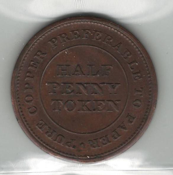 Nova Scotia: 1812 1/2 Penny Token ICCS MS60