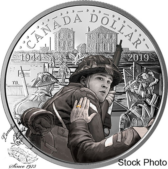 Canada: 2019 $1 75th Anniversary of D-Day Coloured Silver Proof Dollar Coin