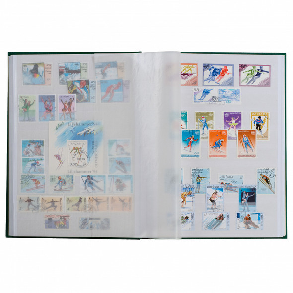 Lighthouse Hard Cover BASIC Stamp Stockbook - 16 White Pages - W16 - Blue