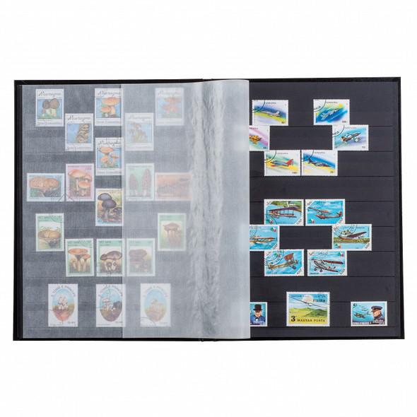 Lighthouse Hard Cover BASIC Stamp Stockbook - 32 Black Pages - S32 - Blue