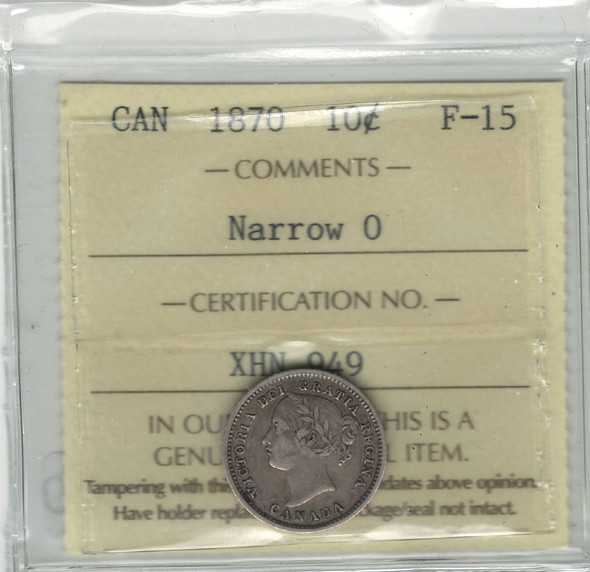 Canada: 1870 10 Cents Narrow 0 ICCS F15