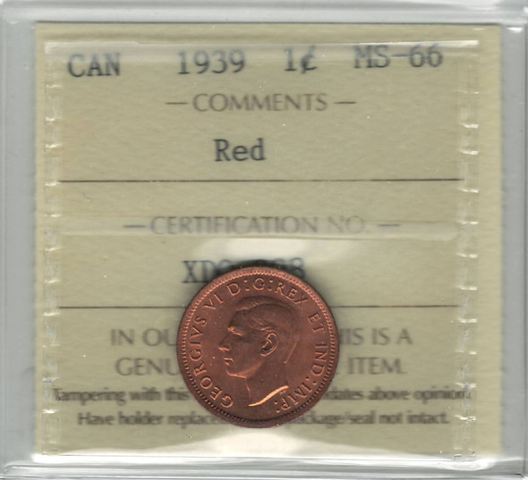 Canada: 1939 1 Cent ICCS MS66 Red