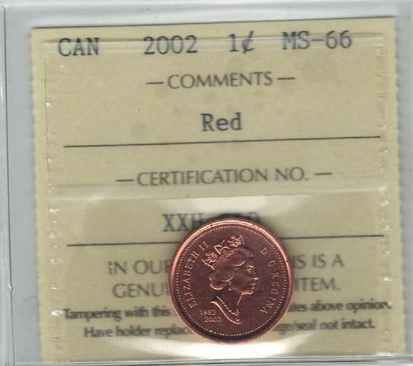Canada: 2002 1 Cent ICCS MS66 Red