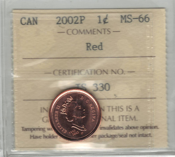 Canada: 2002P 1 Cent ICCS MS66 Red