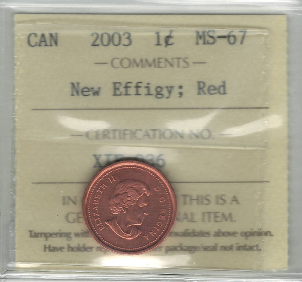 Canada: 2003 1 Cent New Effigy ICCS MS67 Red