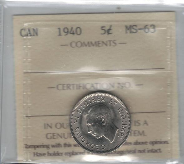 Canada: 1940 5 Cents ICCS MS63 Lot#2