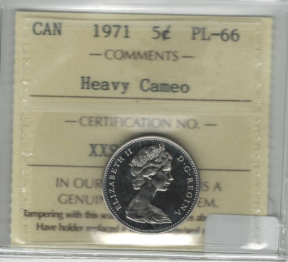 Canada: 1971 5 Cents Heavy Cameo ICCS PL66