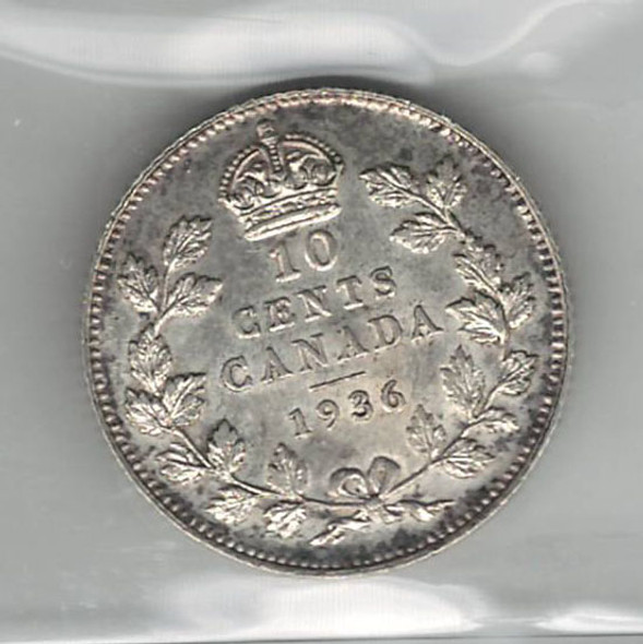 Canada: 1936 10 Cents ICCS MS63