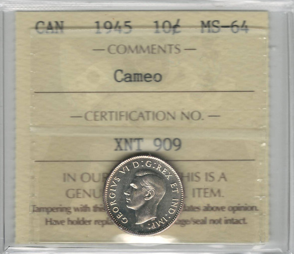 Canada: 1945 10 Cents Cameo ICCS MS64