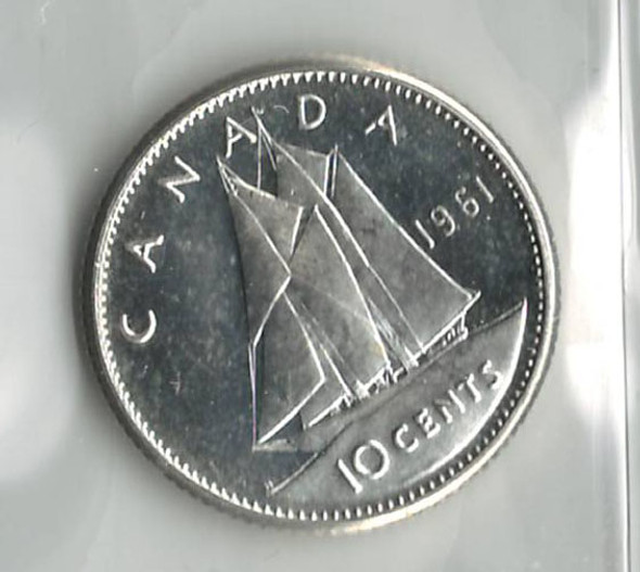 Canada: 1961 10 Cents Cameo ICCS MS65
