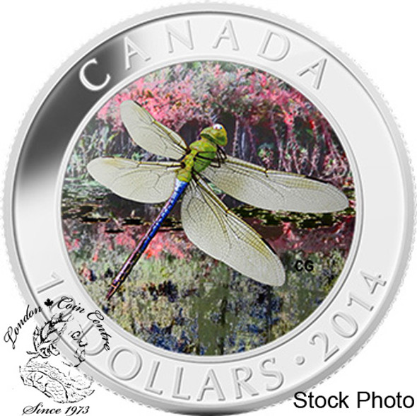 Canada: 2014 $10 Green Darner Dragonfly Hologram Silver Coin