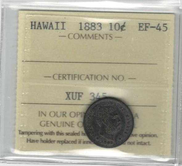 United States: 1883 Hawaii 10 Cent ICCS EF45