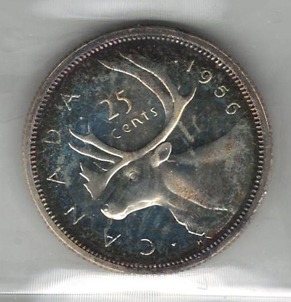 Canada: 1956 25 Cent Heavy Cameo ICCS PL66