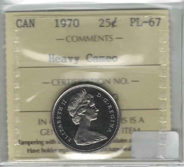 Canada: 1970 25 Cent Heavy Cameo ICCS PL67