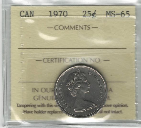 Canada: 1970 25 Cent ICCS MS65
