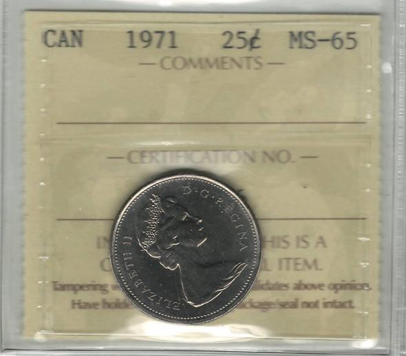 Canada: 1971 25 Cent ICCS MS65