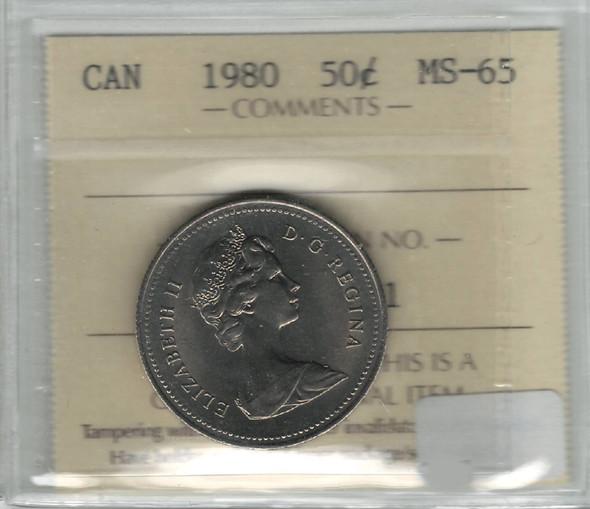 Canada: 1980 50 Cent ICCS MS65