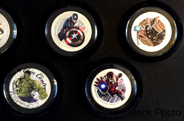 Niue: 2015 $2 Avengers: Age of Ultron 1 oz. Pure Silver Coloured 5 Coin Set