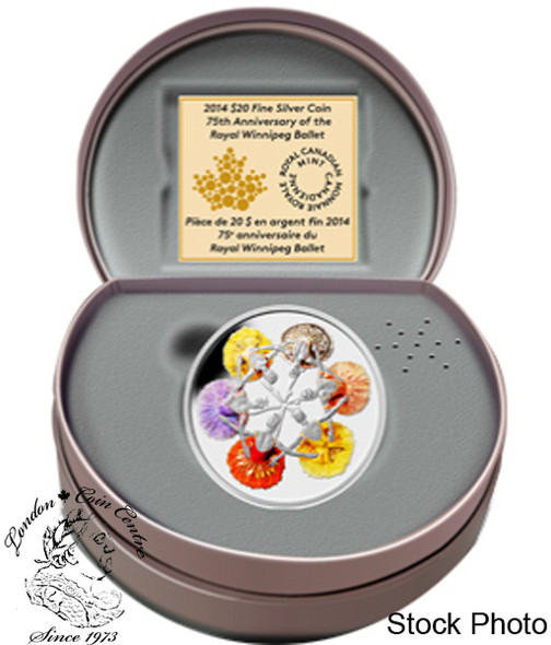 Canada: 2014 $20 75th Anniversary of The Royal Winnipeg Ballet Silver Coin