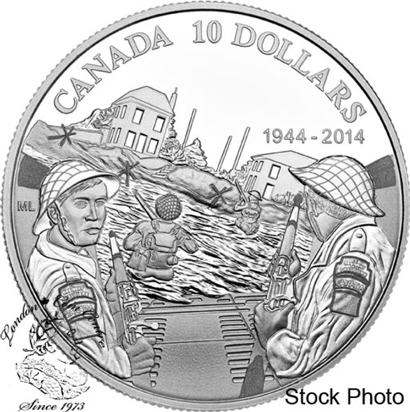 Canada: 2014 $10 70th Anniversary of D-Day - George VI - Pure Silver Coin