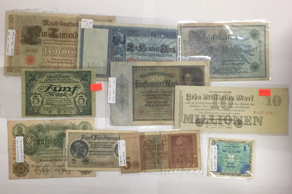 Germany: 1900s Paper Money Lot (10 pcs)