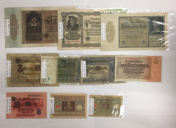 Germany: 1900s Paper Money Lot (10 pcs) Lot#2
