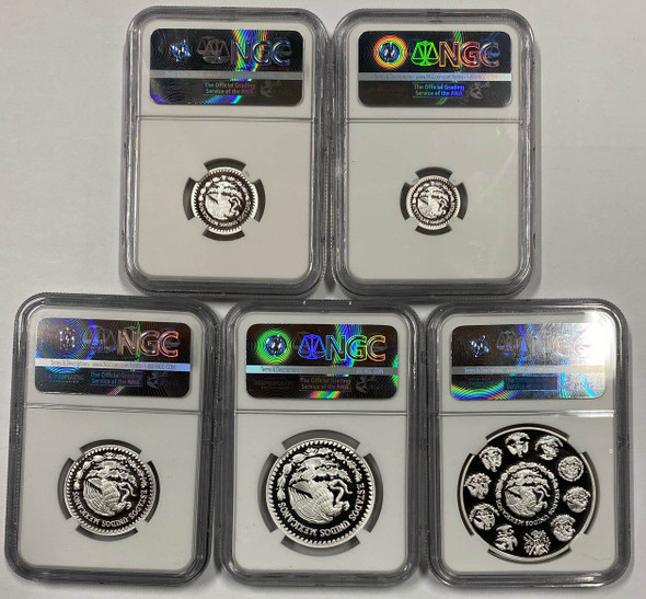 Mexico: 2016 Libertad Pure Silver Fractional 5 Coin Set NGC PF70