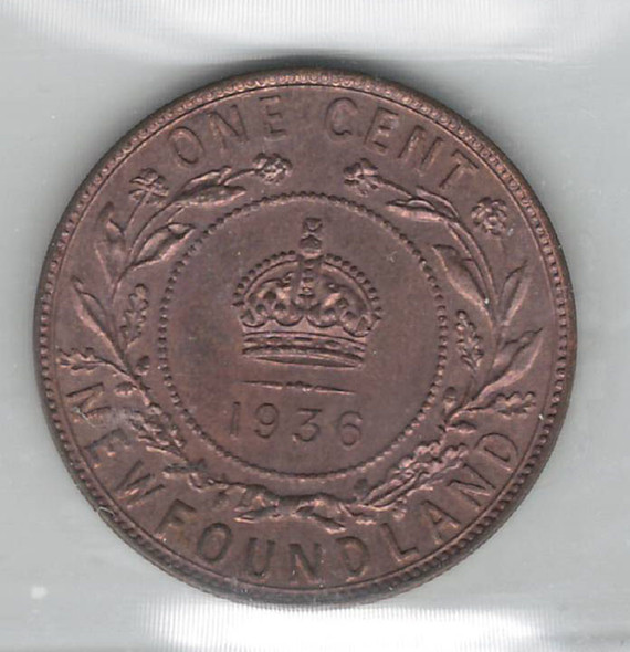 Canada: Newfoundland: 1936 1 Cent ICCS MS64 Red