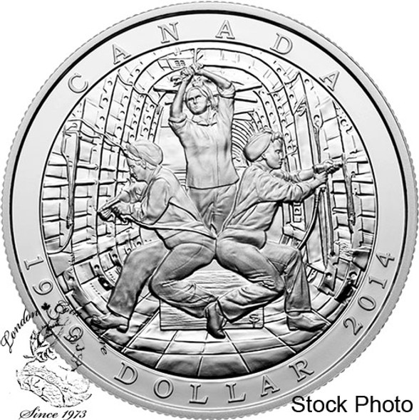 Canada: 2014 $1 75th Anniversary of the Declaration of the Second World War Silver Dollar Coin