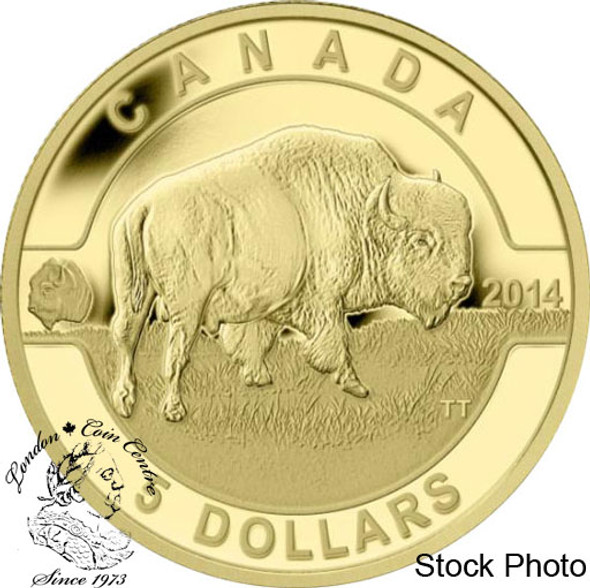 Canada: 2014 $5 O Canada Bison 1/10 oz Pure Gold Coin