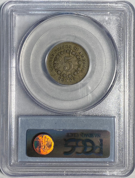 United States: 1867 5 Cent Rays PCGS XF40