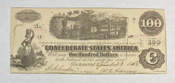 United States: 1862 $100 Confederate States of America Richmond T40