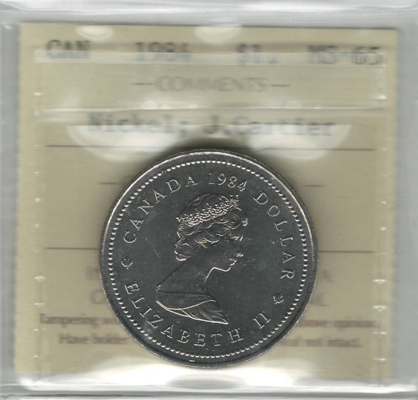 Canada: 1984 Nickel Dollar Jacques Cartier ICCS MS65
